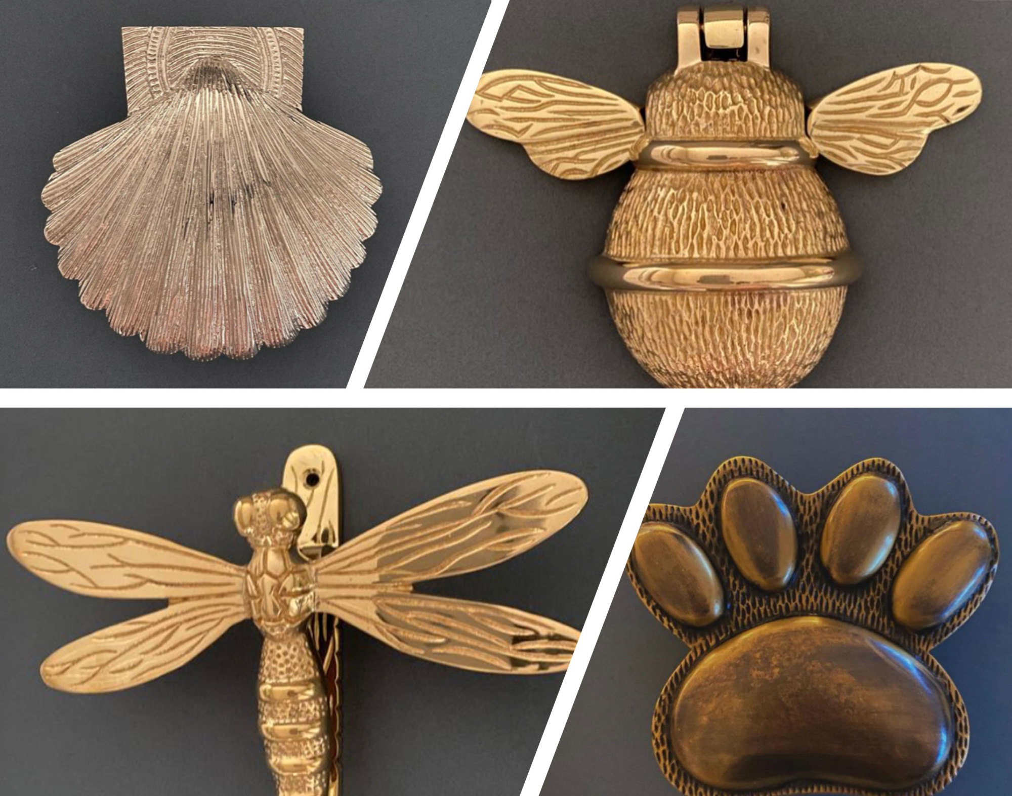 Bee, paw and dragonfly shaped door knockers from Brass Bee