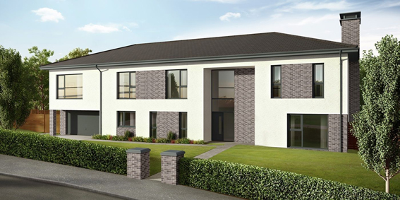 Dessian used Rehau Total70 profile in anthracite grey on this luxury Glasgow suburbs development.